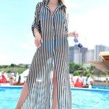Стильная женская длинная пляжная туника 9333 Шифон Полоска Рубашка Макси