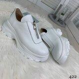 Белые кроссовки «Calli» с натуральной кожи