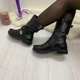 Зимние кожаные Ботинки Полусапожки