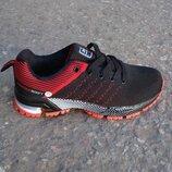 Подростковые кроссовки сетка 36-41р черные с красным