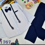 Детский стильный нарядный костюм с бабочкой и подтяжками