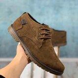 Зимние туфли, полуботинки мужские Eco Brown коричневые