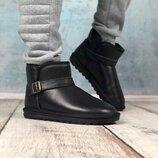 Угги мужские boots clasp black черные кожа