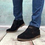 Мужские зимние туфли, полуботинки Eco winter Black черные