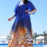 Женская длинная пляжная шифоновая туника в больших размерах 8056-78 Леопард Амбре в расцветках