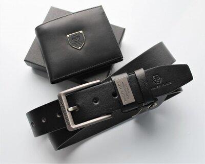 Мужской подарочный набор Philipp Plein - ремень и кошелек черный кожа