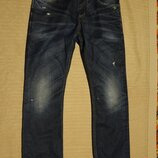 Винтажные фирменные темно-синие джинсы с потертостями Jack & Jones Дания 32/32
