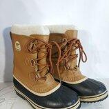 Зимние водонепроницаемые сапоги кожа канадского бренда sorel yoot pac оригинал
