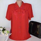 Брендовая красная блуза clothes contact вышивка цветы этикетка