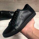 Люкс качество Мужские кожаные кеды,туфли , кроссовки в стиле PHILIPP PLEIN филип пле