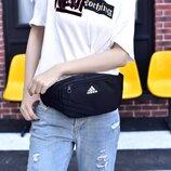 Сумка на пояс Adidas черная с белым логотипом реплика