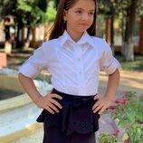Детская школьная блузка-рубошка 656 Хлопок Рукава Кокетка Строчки