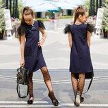 Детское стильное платье 526 Креп Крылышки Кармашки Сетка Флок в школьных расцветках