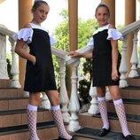 Детское школьное платье-сарафан 719 Кокетка Плечи Воланы Контраст в расцветках