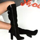 Кс114277Д Демисезонные женские замшевые ботфорты черные