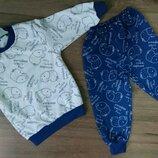 Пижама Пижамка теплая на баечке с начесом с манжетами начес Хлопок 86-92-98-104-110-116-122-128