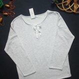 Суперовый стильный тёплый мягкий на флисе свитшот серый меланж со шнуровкой Tex Испания.