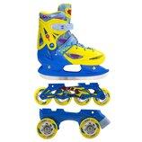 Роликовые коньки Nils Extreme NH1105A 3 в 1 Size 31-34 Blue-Yellow