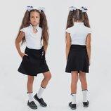 Детская стильная школьная юбка 4-168 Трикотаж Запах Завязка