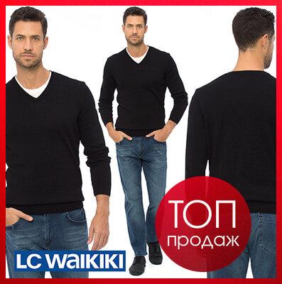 Черный мужской свитер LC Waikiki / Лс Вайкики с V- образным вырезом