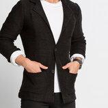 Черный мужской пиджак LC Waikiki / Лс Вайкики с 3-мя карманами и латками на локтях