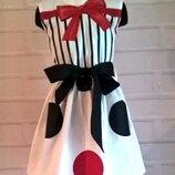 Платье для девочки с принтом горох из 100% хлопока 110-140