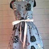 Платье для девочки, платье детское с котами 100% хлопок рр 110-140