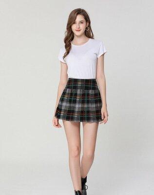 Стильная твидовая юбка в клетку шотландка, XS - XL
