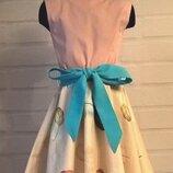 Платье для девочки. платье детское. платье с принтом пёрышки. 100% хлопок. размер 122