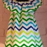 Сарафан/платье детское для девочек с принтом зигзаг. 100% хлопок, размеры 110-140