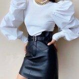 Модная короткая кожаная юбка Lester скл.10 арт.218