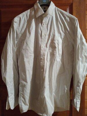 Белая рубашка сорочка в синюю полосочку из плотной ткани . Большой размер