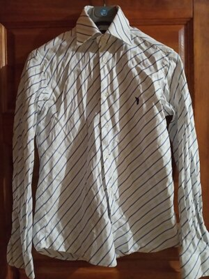 Белая рубашка сорочка в синюю полосочку приталеная