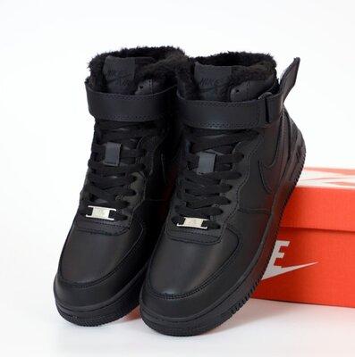 Зимние мужские кроссовки ботинки Nike Air Force Winter. С Мехом. Black.