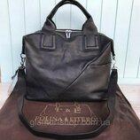 Женская кожаная сумка большая чёрная Polina & Eiterou Жіноча жіноча шкіряна сумка чорна стильная