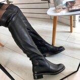Зимние черные кожаные ботфорты, 5603е