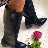Зимние женские черные кожаные сапоги 7310е