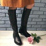 Женские черные кожаные зимние сапоги, 5638е