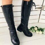 Женские зимние черные кожаные сапоги на замке и со шнуровкой, 7349е