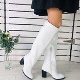 Белые кожаные зимние сапоги на каблуке, 7350-1е