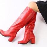 Красные кожаные зимние сапоги с обтянутым каблуком, 7351е