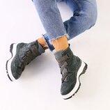 Женские зимние серые замшевые ботинки 7336-1з