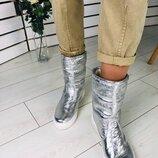 Женские полусапожки кожаные серебро 4060-2з