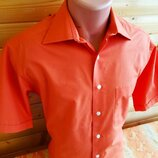 Классическая рубашка с коротким рукавом C&A ярко-оранжевого цвета.