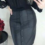Модная юбка карандаш из кожзам Sharm
