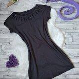 Платье Ostin женское серое с камнями на груди