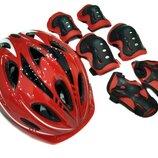 Комплект шлем и защита Sports Helmet размер S-M Красный 2-14 лет с регулировкой по объему