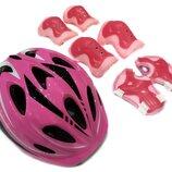 Комплект шлем и защита Sports Helmet размер S-M розовый 2-14 лет с регулировкой по объему