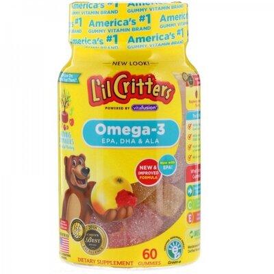 L'il Critters Детские мармеладные конфеты с омегой 3 60 шт Omega-3 Raspberry-Lemonade Flavors 60 Gum