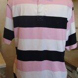 тенниска поло футболка черно-бело-розовая Stone Bay by F&F М 100%котон